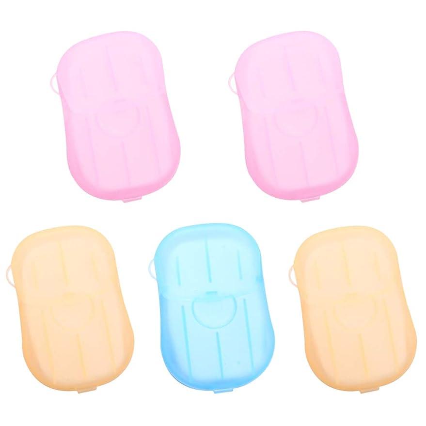 勝利した縫い目再生Healifty 5pcs乾燥石鹸は、発泡ボックスの紙の石鹸のフレークを洗うハンドバス石鹸のスライドシート