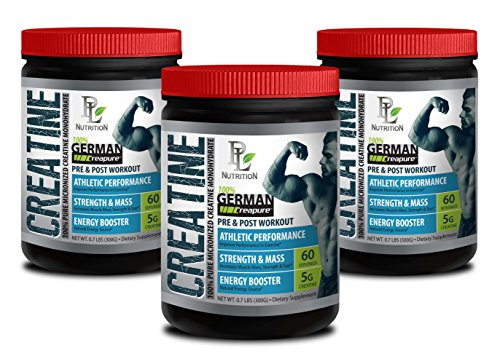 Natural Energy Booster - German CREATINE Powder - MICRONIZED CREATINE MONOHYDRATE CREAPURE 300G 60 Servings - Post Workout Supplement - 3 CANS by PL NUTRITION
