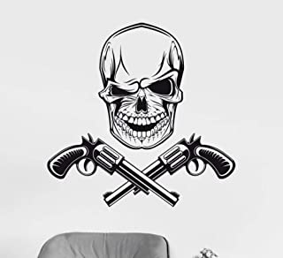 Wall Sticker Skull Guns Gangsters Vinyl Wall Stickers Personality Pattern Wall Decal Removable Wallpaper for Teens Bedroom Mural 73X114cm PVC