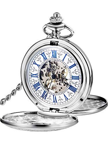 Reloj de Bolsillo Mecánico de Hombres de Esqueleto de Acero de Windup