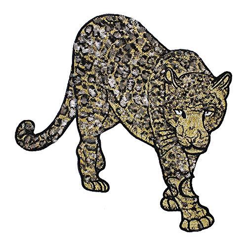 EMDOMO Pailletten Luipaard Patches Borduurwerk Applique Naai op Jas Terug Patches Mode Merk Badge 1 stuk