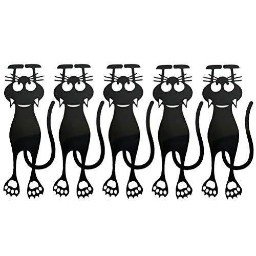 Dan&Dre Adorabile segnalibro – Gatto,Segnalibri in plastica per Gatti Neri 5PCS Segnalibri creativi per Gatti Vuoti Segnalibri Animali Segnalibro Curious Colore Nero a Forma di Gatto