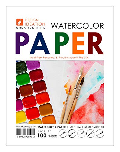 Design Ideation Watercolor Paper. Mixed-Media Paper for Pencil, Ink, Marker and Watercolor Paints. Great for Art, Design and Education. Loose Sheet Pack. (8.5' x 11') (100)