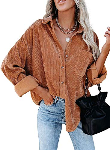 MIHOLL Women Corduroy Long Sleeve Button Down Collared Shirt Jacket Tops Brown