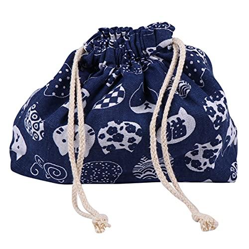 TOYANDONA 1Pc Mode Adorable Double- Couche Japonais Style Cordon Bento Portable Mignon Chat Motif Boîte À Déjeuner pour Femmes Filles (Bleu)