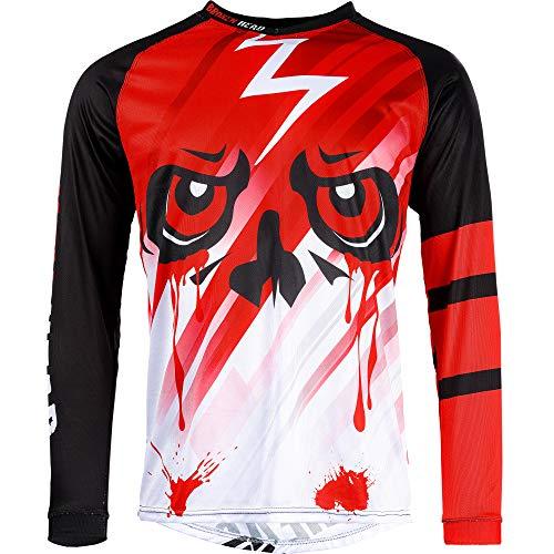 Broken Head Division Rot MX Jersey - Langarm Funktions-Shirt Für Moto-Cross, BMX, Mountain Bike, Offroad I Größe L
