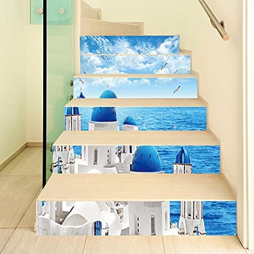 tzxdbh losetas vinilo para escaleras Azul océano blanco edificio 100CMx18CMx13pieces(39.3'w x 7'h x 13pieces) Escalera de moqueta autoadhesiva, Calcomanías para escaleras 3D Cocina Piso Decoración
