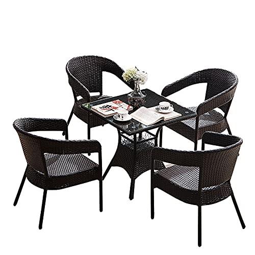 LGLE Juego de mesa y silla de mimbre de ratán para muebles de jardín, muebles de jardín, muebles de jardín de ratán para exteriores, conjuntos de muebles de jardín, juegos de bistro