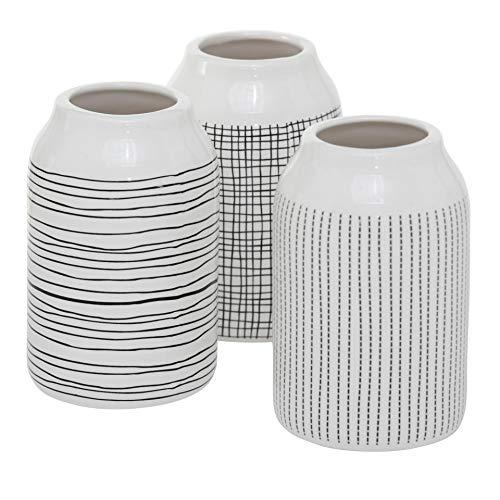 CasaJame 3 Moderne Deko Steingut Vasen Sortiert H14cm D9cm schwarz weiß