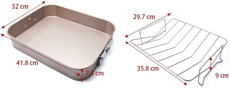 SZMYLED Poêle à rôtir rectangulaire anti-adhésive pour four Biscuits Barbecue à pain 40,6 x 33 cm seulement Plaque de Cuisson Noire Uniquement.
