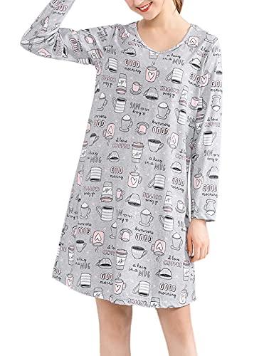 ENJOYNIGHT Camisón de noche para mujer, manga larga, algodón, camiseta estampada, cuello redondo, ropa de noche, café, L