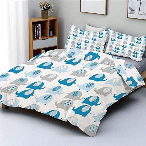 Set copripiumino, adorabili elefanti con disegni astratti sul loro B.ody Chevron Lines Set di biancheria da letto decorativa in 3 pezzi con motivi a punti e 2 fodere per cuscini, grigio blu, miglior r