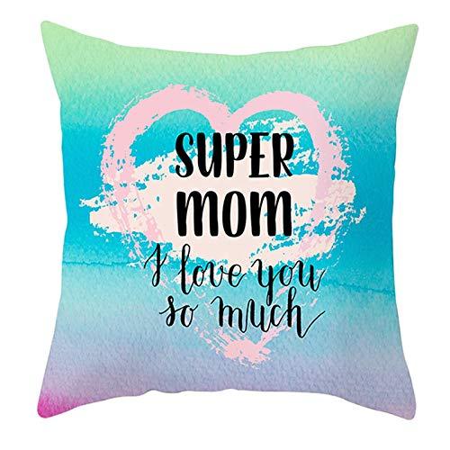 KnBoB Funda de Almohada Super Mom I Love You So Much Corazón Poliéster Verde Azul Rosa 45 x 45 cm Estilo 25