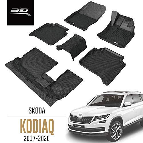 3D MAXpider All-Weather Car Floor Mats for Skoda Kodiaq 7 Seater 2017-2020 Tailored Custom Fit Premium Waterproof Hybrid Rubber Car Mat Set (RHD for the UK)