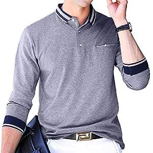 ポロシャツ 長袖 メンズ ゴルフウェア ビジネス スポーツポロシャツ 男性 ゴルフポロシャツ 秋 冬 春 グレー 8882GRAY-XL