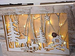 Quadro foresta innevata con alberi e renne decorazione natalizia in legno laser con luce led idea regalo natalizio handmad...
