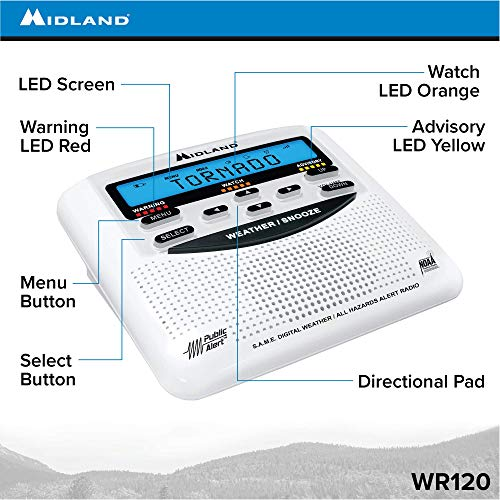 Product Image 2: Midland – WR120B/WR120EZ – NOAA Emergency Weather Alert Radio – S.A.M.E. Localized Programming, Trilingual Display, 60+ Emergency Alerts, & Alarm Clock (WR120B – Box Packaging)
