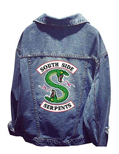Riverdale Veste en Jean, Femme Serpent Veste South Side Chic Pas Cher Blousons Ado Fille Manteaux Gilets Sweat Denim Casual Sweat-Shirt Pull (1, Taille Libre)