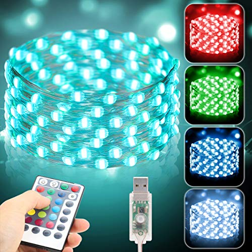 Metaku Fairy Lights 33Ft 100 LED String Lights with Remote & Timer 16 Color Changing Twinkle Lights 4 Modes USB Powered Multi Color Christmas Lighting for Bedroom Party Patio Indoor Outdoor Xmas Décor
