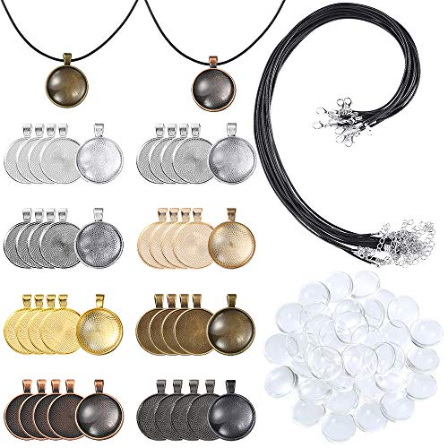 PP OPOUNT 95 Pieces Pendant Trays Set Including 8 Different Colors 40Pieces Round Pendant Trays,40Pieces Bright Glass Cabochon Dome Tiles,15Pieces Black Waxed Necklace Cord for Photo Pendant Crafting