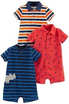 Simple Joys by Carter s Baby Boys  3-Pack Rompers Orange Blue Stripe/Navy Stripe/Red Anchors 18 Months