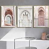 ZDFDC Allah Islamic Pink Marokko Arch Door Wandkunst