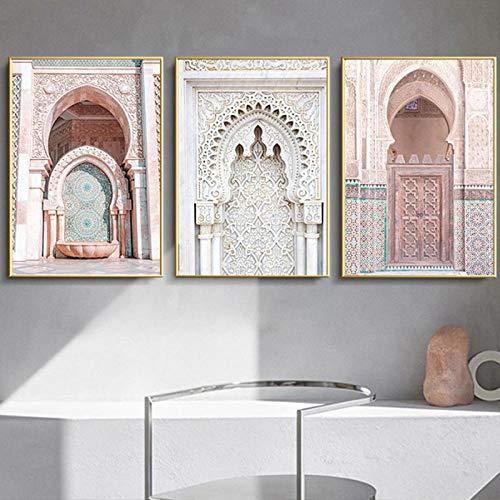 ZDFDC Allah Islamic Pink Marokko Arch Door Wandkunst Leinwanddruck Malerei Poster Modernes Wanddekor Bild