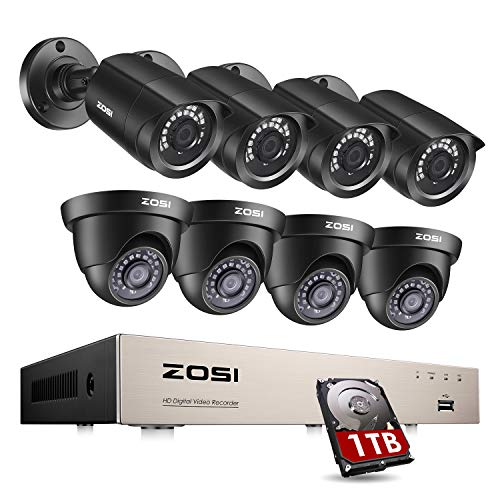 ZOSI 8CH Security Camera System Outdoor with 1TB Hard Drive,H.265+ 5MP Lite 8Channel CCTV Recorder and 8pcs 1080P HD 1920TVL Home Surveillance Bullet Dome Cameras, 80ft Night Vision, Remote Access