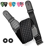 LEKATO Bass Strap for Bass & Electric Guitar Bass Guitar Strap with 3.5' Wide Neoprene Pad & 3D Sponge Filling Guitar Strap Adjustable Length from 45' to 55' with 2 Safety Strap Lock and 6 Picks