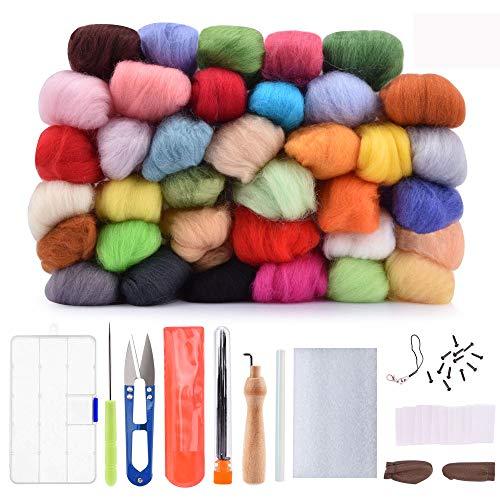 AFDEAL Filzwolle Märchenwolle, 36 Nadelfilz Starter Kit Set Farben Wolle Roving Filzen Basic Kit für Hand Spinnen DIY Craft Handwerk Deko (36 Farben)