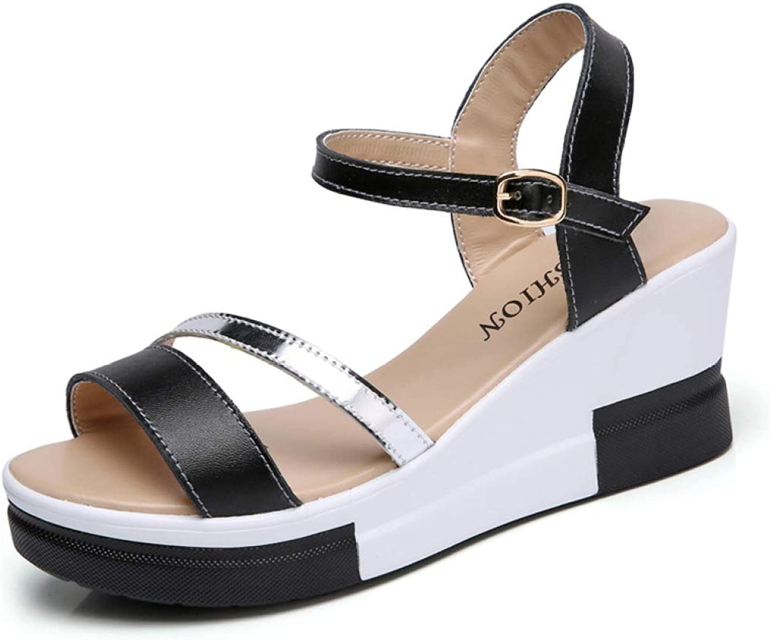 MEIZOKEN Womens Wedge Sandals Ladies Summer Buckle Ankle Strap shoes Elegant Open Toe Flatform Sandals