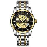 JTTM Relojes, Relojes Hombre Mecánico Automático Estilo Clásico Impermeable Números Esfera con Correa De Acero Inoxidable,Gold Black