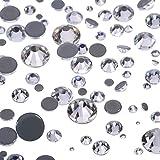 1000 Piezas de Cristales Redondos de Fijación Caliente de Tamaños Mezclados Gemas Piedras de Vidrio Diamantes de Espalda Plana 1,5 - 6 MM (Color Transparente)