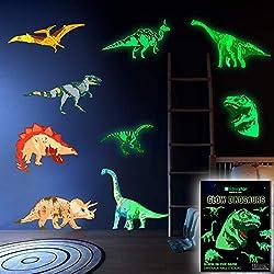 2. LIDERSTAR Dinosaur Glow in The Dark Vinyl Wall Decals
