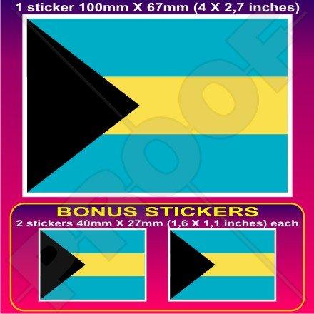 Bahamas Drapeau du Commonwealth bahamienne 10,2 cm Bumper Sticker en vinyle (100 mm), en x1 + 2 Bonus