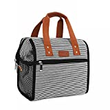 Lunch Bag Insulated Lunch Bags for Women Men and Kids Reusable & Wide-Open Lunch Tote Bag Portable Insulated Bag for Office, School and Picnic, (White Stripe)