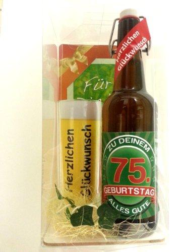 SünGross Geschenk Set, Bierset Bier Geschenk zum 75. Geburtstag das bei Frau und Mann Immer gut ankommt, Bierflasche mit Etikett, Glas Bierkrug und Geschenk Postkarte