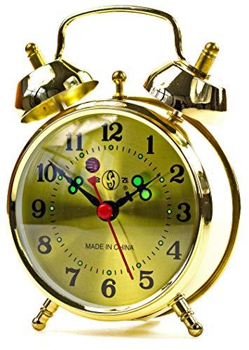 Exc. Wekker metalen klok gouden klok wekker herenhorloge dameshorloge dubbele wekker met luid alarm