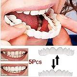 DEWQ Dentaduras postizas Reales,Sonrisa Dientes cosméticos temporales,Arriba Y Abajo Dentaduras Kit de reparación de dentaduras postizas 5Pcs