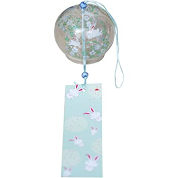 Japanese Style Printed Glass Wind Chime Garden Home Decor Wind Bells 7x6cm