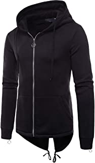 Mens Hipster Solid Color Long Sleeve Front Zipp-Up Fashion Hooded Sweater