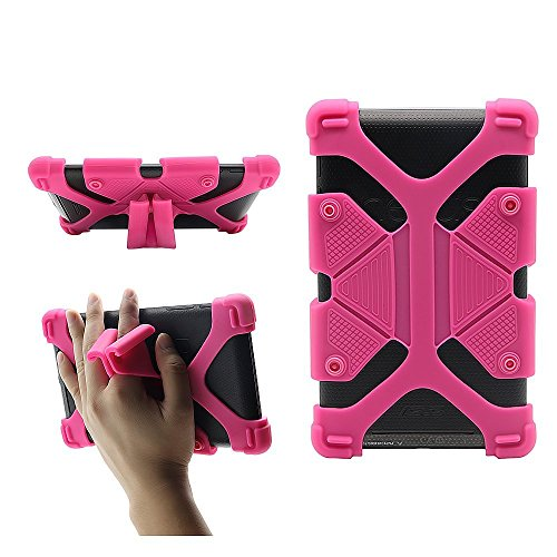 """CHINFAI Universal 7 inch Tablet Case Shockproof Silicone Stand Cover for All Versions RCA Voyager Vankyo Yuntab Samsung Google Nexus MatrixPad Z1 Huawei 7"""" Android Tablet and More, Rose"""