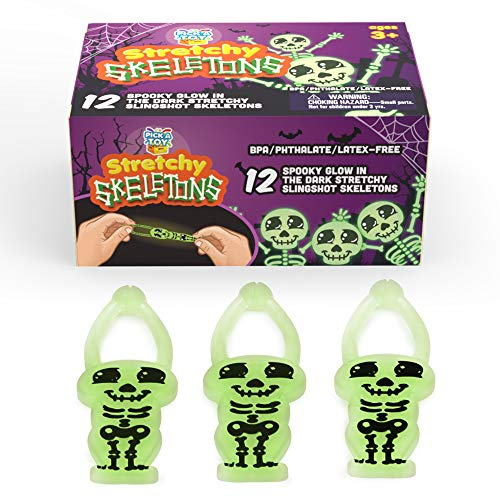 Stretchy Toy Skeleton Slingshots for Kids (12-Pack) Sticky Glow-in-The-Dark | Rubber Finger Fling Launchers | Halloween and Birthday Party Favors | Safe for Ages 3 and Up