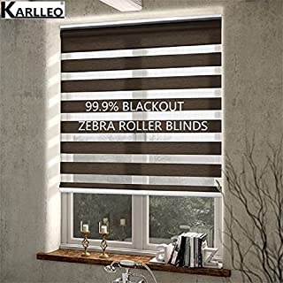 Manual/Motorized 100% Blackout Rainbow Zebra Roller Blinds Curtain (NO.B10) Websize Priced at Manual(1pc,39