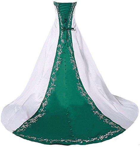 Vantexi Damen Trägerloses Stickerei Brautkleid Hochzeitskleider Weiß Teal 32