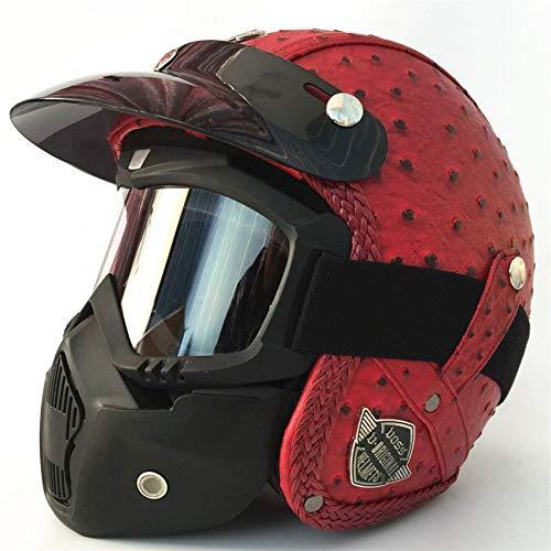 LOLIVEVE 4 seizoenen Retro Helmen Handgemaakte Persoonlijkheid Retro Harley Helmeted Motorfiets 3/4 Helmeted Helmeted Mannen Vrouwen