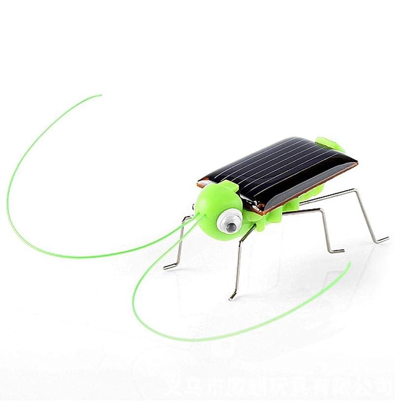 Matoen Educational Solar Powered Grasshopper Robot Toy Solar Powered Cricket Toy Gadget Gift (A, Green)