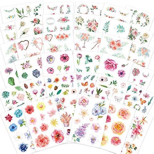 Watercolor Flower Stickers Set (Assorted 36 Sheets) - Decorative Sticker for Scrapbooking, Kid DIY Arts Crafts, Album, Bullet Journaling, Junk Journal, Planners, Calendars and Notebook