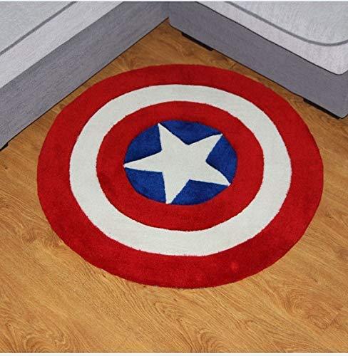Dmqpp Fashion Captain America Pentagram Slaapkamer Woonkamer Mat Acryl Fiber Katoen Ronde Tapijt, Handgemaakt Tapijt, Vloerbedekking, Dik, Milieuvriendelijk