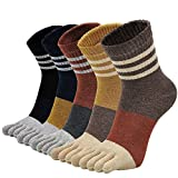 Womens Toe Socks Five Finger Mid-calf Striped Cotton Sock Athletic Sports Ankle Sox